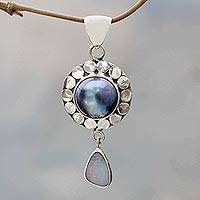 Cultured pearl and opal pendant, 'Heavenly Blue Tear'  - Artisan Crafted Cultured Pearl and Opal Pendant