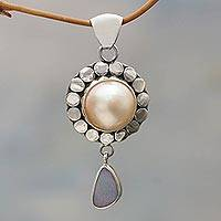 Cultured pearl and opal pendant, 'Heavenly White Tear'  - Cultured Pearl and opal pendant