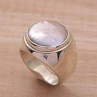 Cultured pearl ring, 'Deep Sea'
