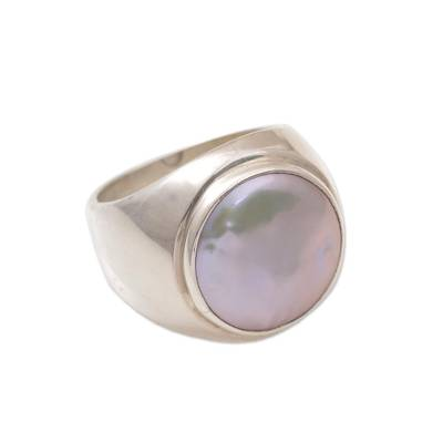 Cultured pearl ring, 'Deep Sea' - Hand Made Sterling Silver and Pearl Dome Ring