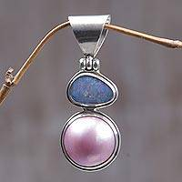 Cultured pearl and opal pendant, 'Rose Eclipse' - Dual-Stone Pearl and Opal Pendant from Indonesia