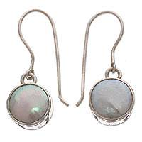 Cultured pearl dangle earrings, 'Ice Cold' - Pearl dangle earrings