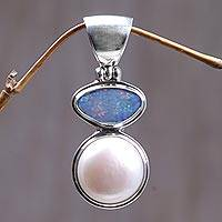 Cultured pearl and opal pendant, 'Mystical Eclipse' - Unique Modern Sterling Silver and Pearl Pendant