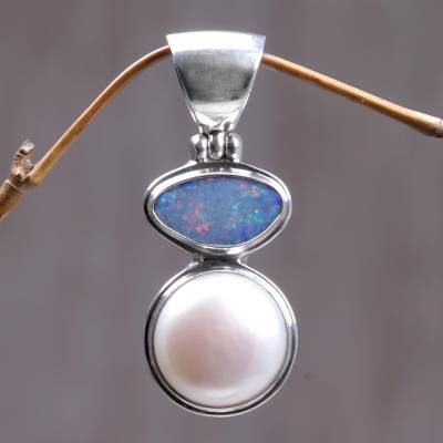 Cultured pearl and opal pendant, 'Mystical Eclipse' - Unique Modern Sterling Silver and Cultured Pearl Pendant