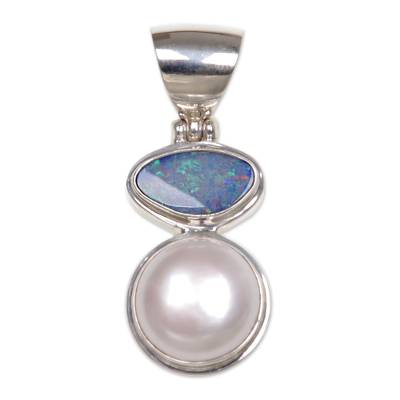 Unique Modern Sterling Silver and Pearl Pendant