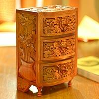Wood chest of drawers, 'Paradise' - Small Carved Wood Chest of Drawers