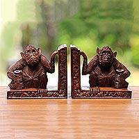 Wood bookends, 'Guardian Monkeys' (pair)