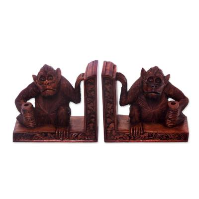 Wood bookends, 'Guardian Monkeys' (pair) - Artisan Crafted Indonesian Wood Bookends (Pair)