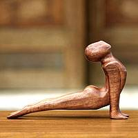 Wood sculpture, 'Yoga Cobra Pose' - Unique Wood Yoga Sculpture from Indonesia