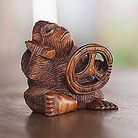 Wood statuette, 'Chimp at the Wheel' - Suar Wood Monkey Sculpture
