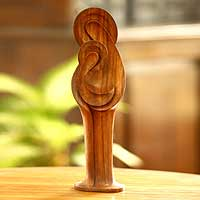 Wood statuette, 'Mary and Jesus' - Religious Christianity Schulpture