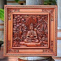 Wood relief panel, 'Buddha in the Forest' - Wood relief panel