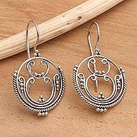 Sterling silver drop earrings, 'Mystique'