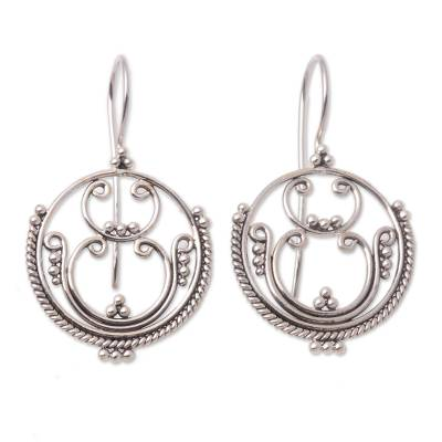 Sterling silver drop earrings, 'Mystique' - Sterling silver drop earrings