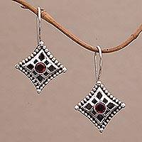 Garnet dangle earrings, 'Temple Window' - Garnet dangle earrings