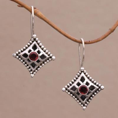 Garnet dangle earrings, 'Temple Window' - Garnet dangle earrings