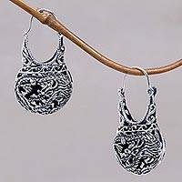 Sterling silver filigree hoop earrings, 'Eagle Legend' - Sterling Silver Hoop Bird Earrings