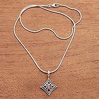 Garnet pendant necklace, 'Temple Window' - Garnet pendant necklace