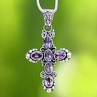 Amethyst cross necklace, 'New Directions' - Amethyst Sterling Silver Cross Necklace