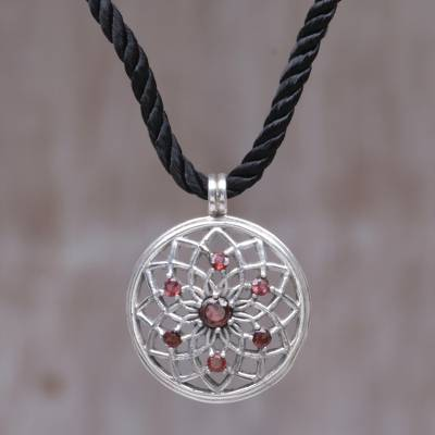 Garnet flower necklace, 'Lotus Blossom' - Floral Garnet Sterling Silver Necklace