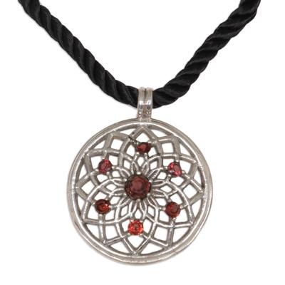 Garnet flower necklace, 'Lotus Blossom' - Floral Garnet Sterling Silver Necklace