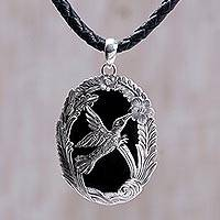 Onyx pendant necklace, 'Perfectly Free'