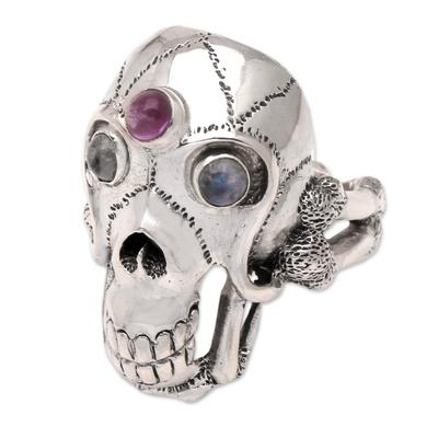 Men's rainbow moonstone and amethyst ring, 'Immortal' - Men's Indonesian Silver and Amethyst Skull Ring