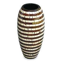 Coconut shell vase, 'Stripes' - Coconut shell vase