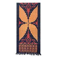 Cotton ikat wall hanging, 'Yellow Butterfly' - Handcrafted Indonesian Wall Hanging