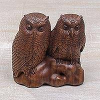 Wood sculpture, 'Twin Owls' - Hand Carved Wood Sculpture of Twin Owls from Bali