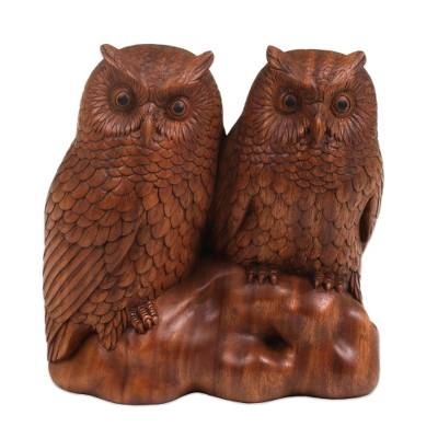Hand Carved Wood Sculpture of Twin Owls from Bali