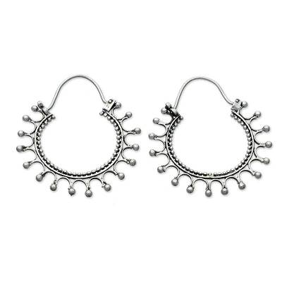 Sterling silver hoop earrings, 'Midnight Rapture' - Sterling Silver Hoop Earrings