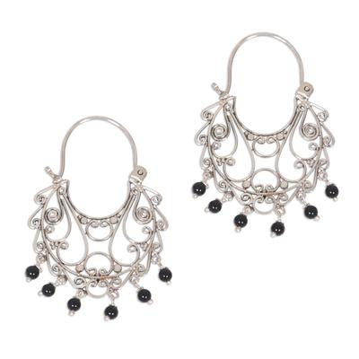 Onyx chandelier earrings, 'Fantasy' - Onyx Sterling Silver Chandelier Earrings