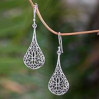 Sterling silver flower earrings, 'Floral Reign'