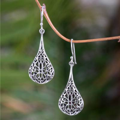 Sterling silver flower earrings, 'Floral Reign' - Sterling Silver Dangle Earrings