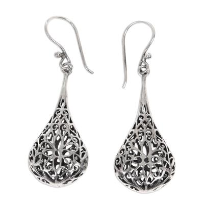 Sterling silver flower earrings, 'Floral Reign' - Sterling Silver Dangle Earrings