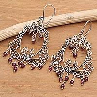 Garnet chandelier earrings, 'Smiling Clown' - Garnet Sterling Silver Filigree Earrings