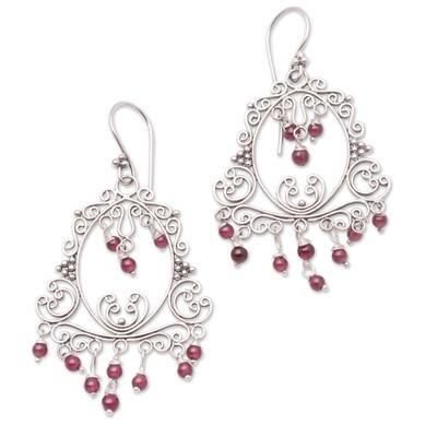 Garnet Sterling Silver Filigree Earrings