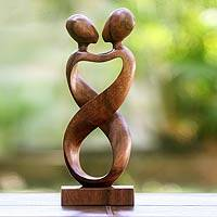 Wood sculpture, 'Heart to Heart' - Romantic Wood Sculpture