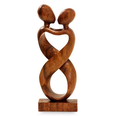 Wood sculpture, 'Heart to Heart' - Romantic Wood Sculpture