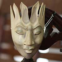 Wood mask, 'Man of Fire' - Fair Trade Modern Wood Mask