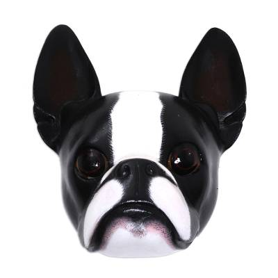 Wood mask, 'Sweet Boston Terrier' - Wood mask