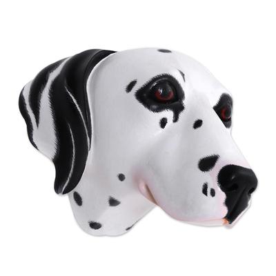 Wood mask, 'Spotty, the Dalmatian' - Wood mask