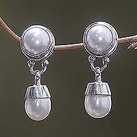 Cultured pearl dangle earrings, 'Angel' - Cultured pearl dangle earrings