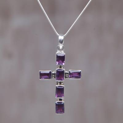 Amethyst cross necklace, 'Violet Light' - Amethyst Sterling Silver Cross Necklace