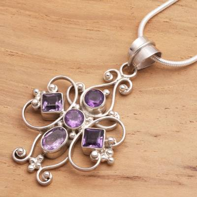 Amethyst cross necklace, 'Floral Cross' - Amethyst Sterling Silver Pendant Necklace