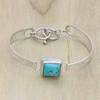 Turquoise wristband bracelet, 'Soul Mirror' - Women's Indonesian Silver and Turquoise Bracelet