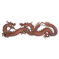 Wood wall adornment, 'Dragon Game' - Hand Crafted Wood Relief Panel