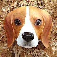 Wood mask, 'Sweet Brown Beagle' - Hand-Carved Wood Beagle Mask from Indonesia