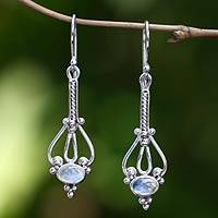 Rainbow moonstone dangle earrings, 'Pendulum' - Rainbow Moonstone and Silver dangle earrings